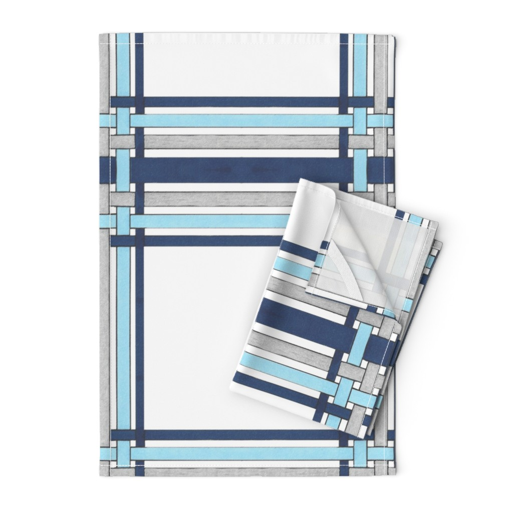 Orpington Tea Towels featuring Sapphire Blue Picture Frame Plaid  by debra_may_himes,_asid