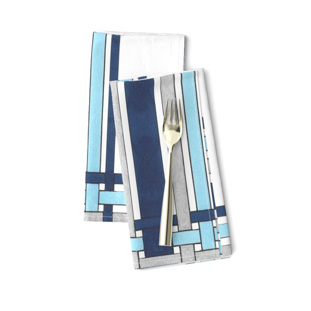 Amarela Dinner Napkins featuring Sapphire Blue Picture Frame Plaid  by debra_may_himes,_asid