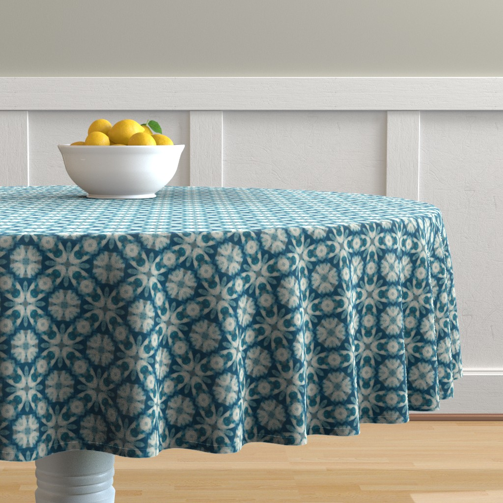 Malay Round Tablecloth featuring Teal Time | Artistic Texture by southwind