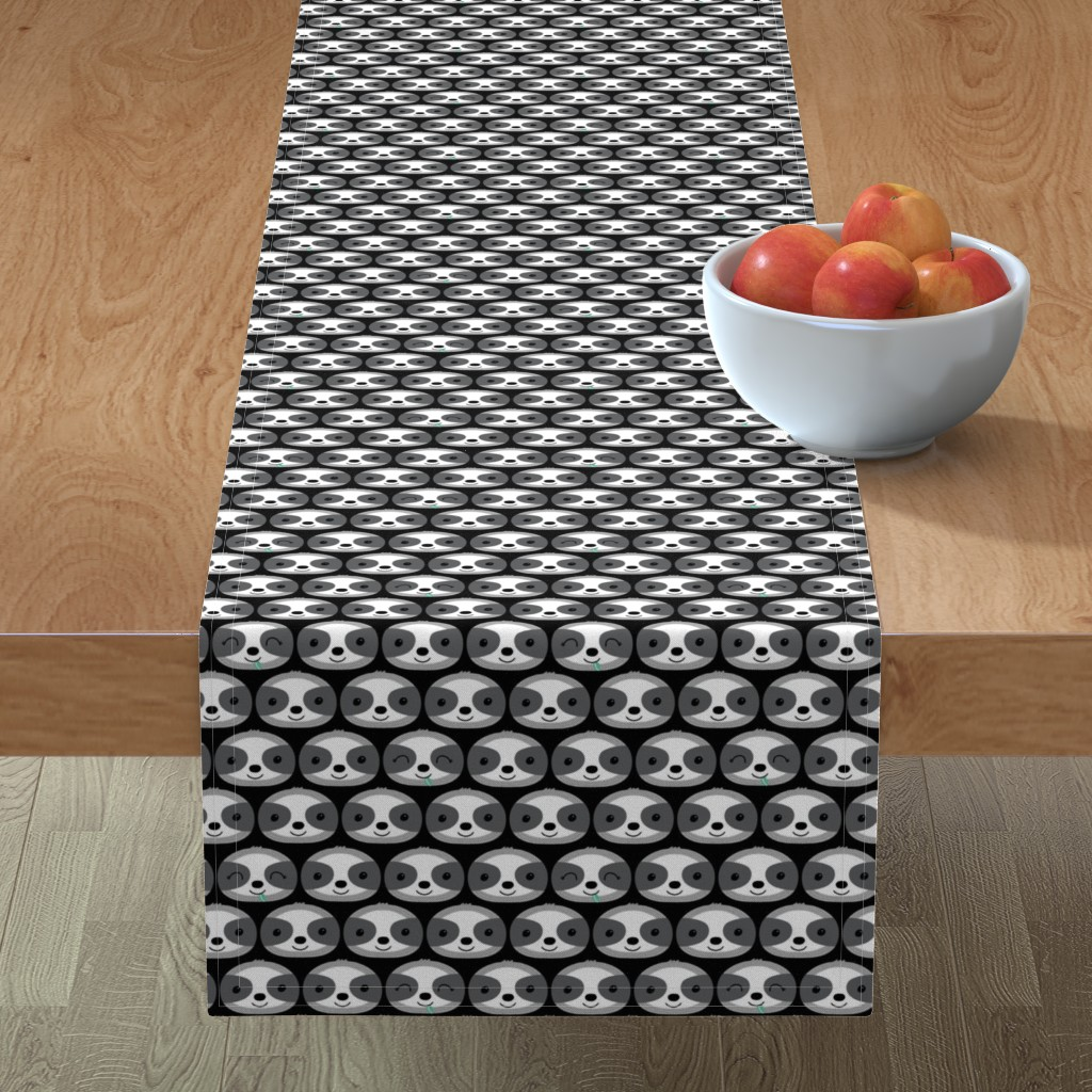 Minorca Table Runner featuring sloth faces by littlefoxhill
