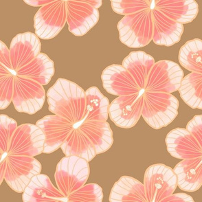 Watercolor hibiscus all over on brown