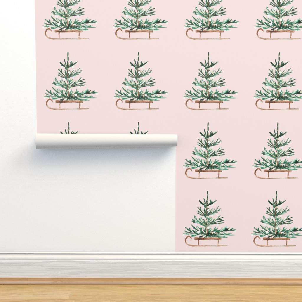 "Isobar Durable Wallpaper featuring 4"" Christmas Travels // Blush by hipkiddesigns"
