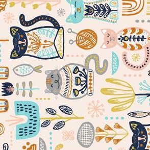 TEA TOWEL Sweet Scandi Cats // Felines + Florals in Blush, Copper, Goldenrod, Pool Blue, Navy, and Stone // Scandinavian Flowers, Cats, Yarn, Fish, Leaves, Botanicals, Knitting, Nordic, Hygge, Starburst, Geometric, Kitties