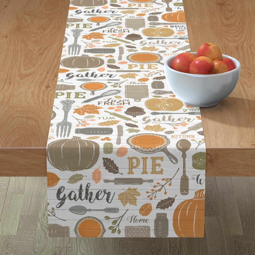 Minorca Table Runner featuring Sing for Your Supper THANKSGIVING // Gather Round & Give Thanks - A Fall Festival of Food, Fun, Family, Friends, and PIE! by zirkus_design