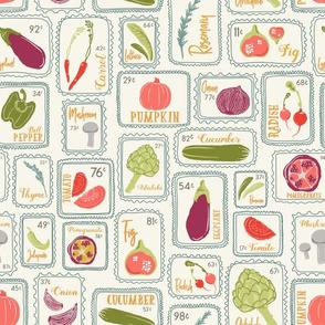 Oh My Veggies! Seasonal Veggie Seed Packets // Pumpkin, Cucumber, Lettuce, Carrot, Jalapeno, Pomegranate, Tomato, Artichoke, Mushroom, Onion, Rosemary, Thyme, Radish, Fig, Eggplant // Farmers Market Vegetable Finds // Grown Your Own Garden
