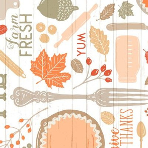 Bright Sing for Your Supper THANKSGIVING // Gather Round & Give Thanks - A Fall Festival of Food, Fun, Family, Friends, and PIE! (RR for Fat Quarter Tea Towel