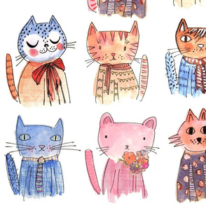 ARISTO CATS watercolour, hand drawn sketches and illustrations