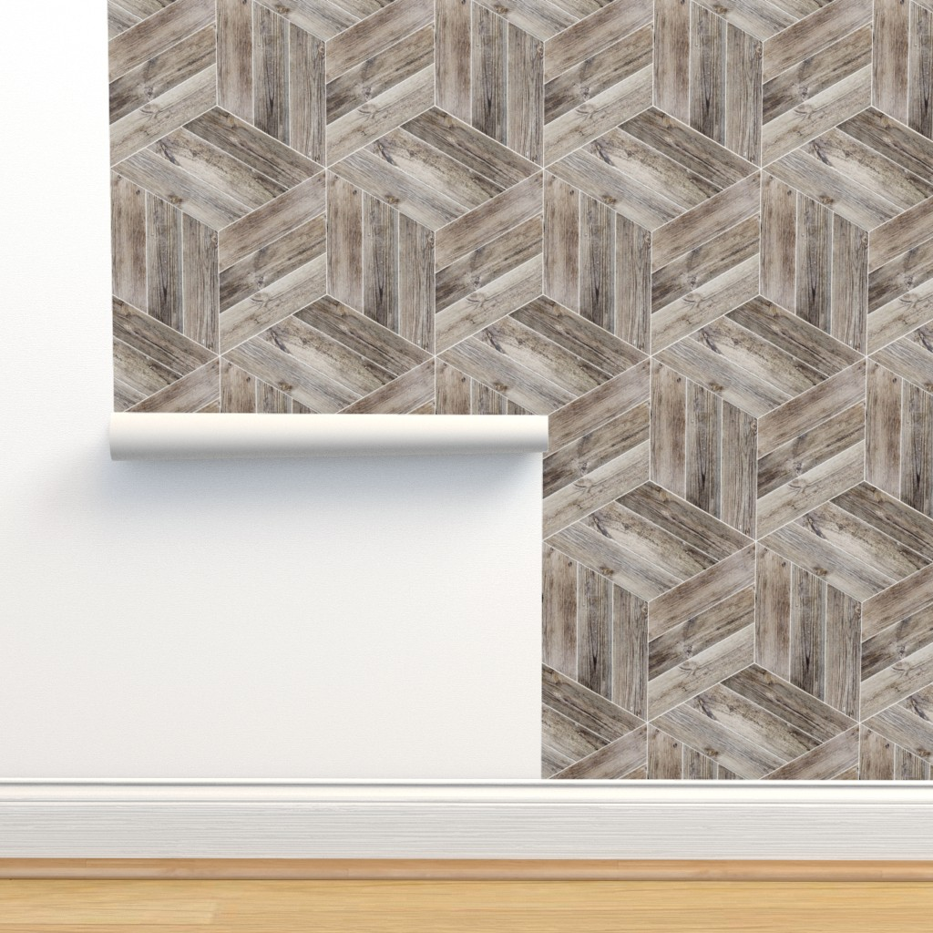 Isobar Durable Wallpaper featuring Weathered Parquet in Brown by gigi&mae