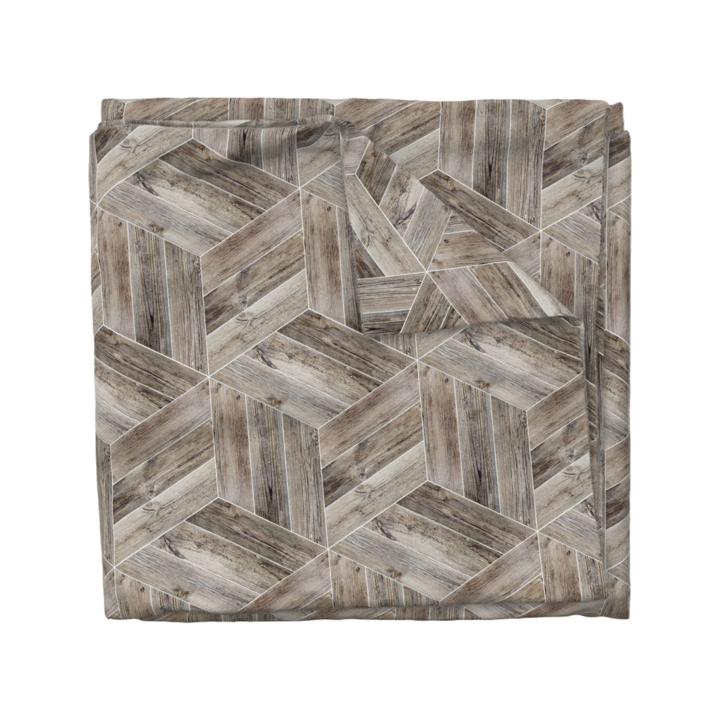 Wyandotte Duvet Cover featuring Weathered Parquet in Brown by gigi&mae