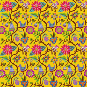 vines and flowers pattern yellow-01