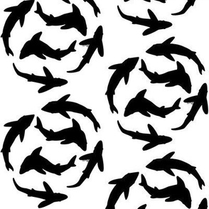 Minimal Sharks in black and white