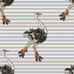 Ostrich on Skates by ArtfulFreddy