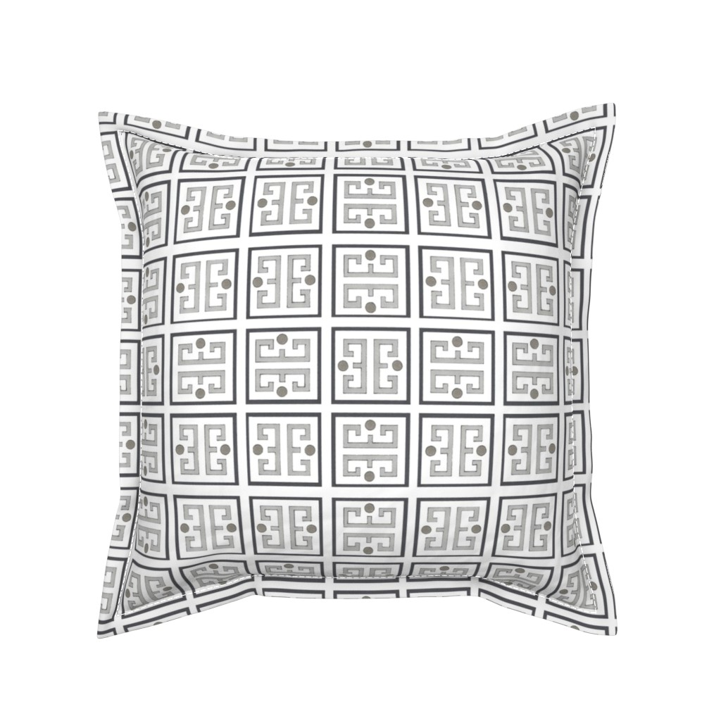 Serama Throw Pillow featuring Black, Gray and Taupe Fret by debra_may_himes,_asid