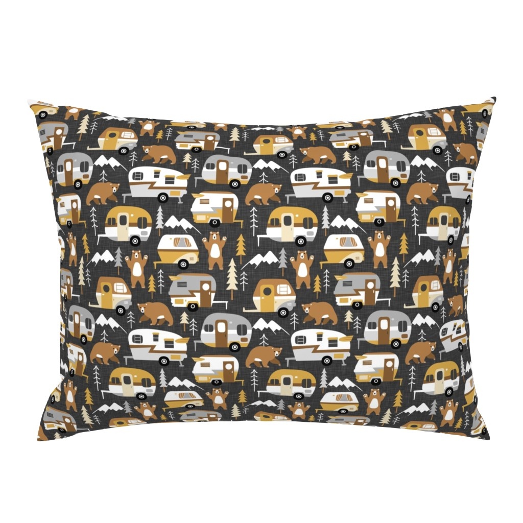 Campine Pillow Sham featuring camping cars - khaki by mirabelleprint