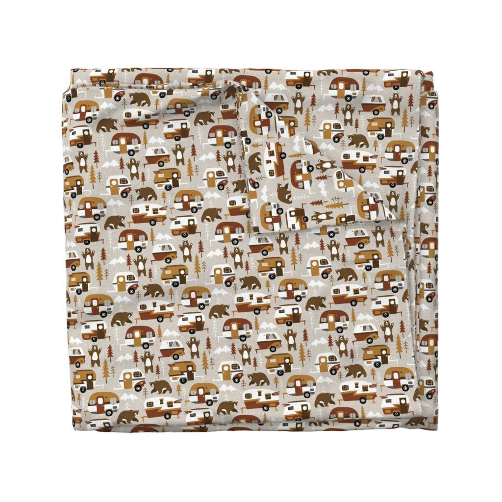 Wyandotte Duvet Cover featuring camping cars - cream by mirabelleprint