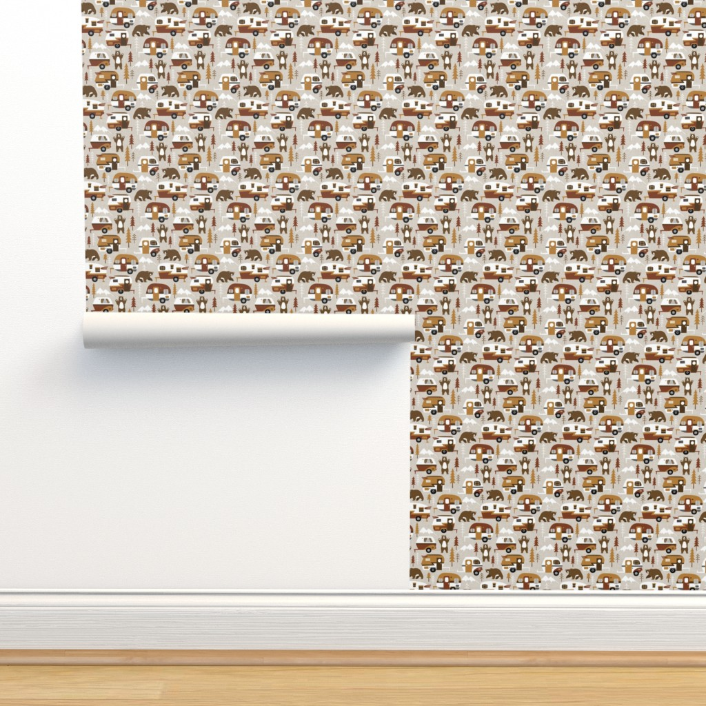 Isobar Durable Wallpaper featuring camping cars - cream by mirabelleprint