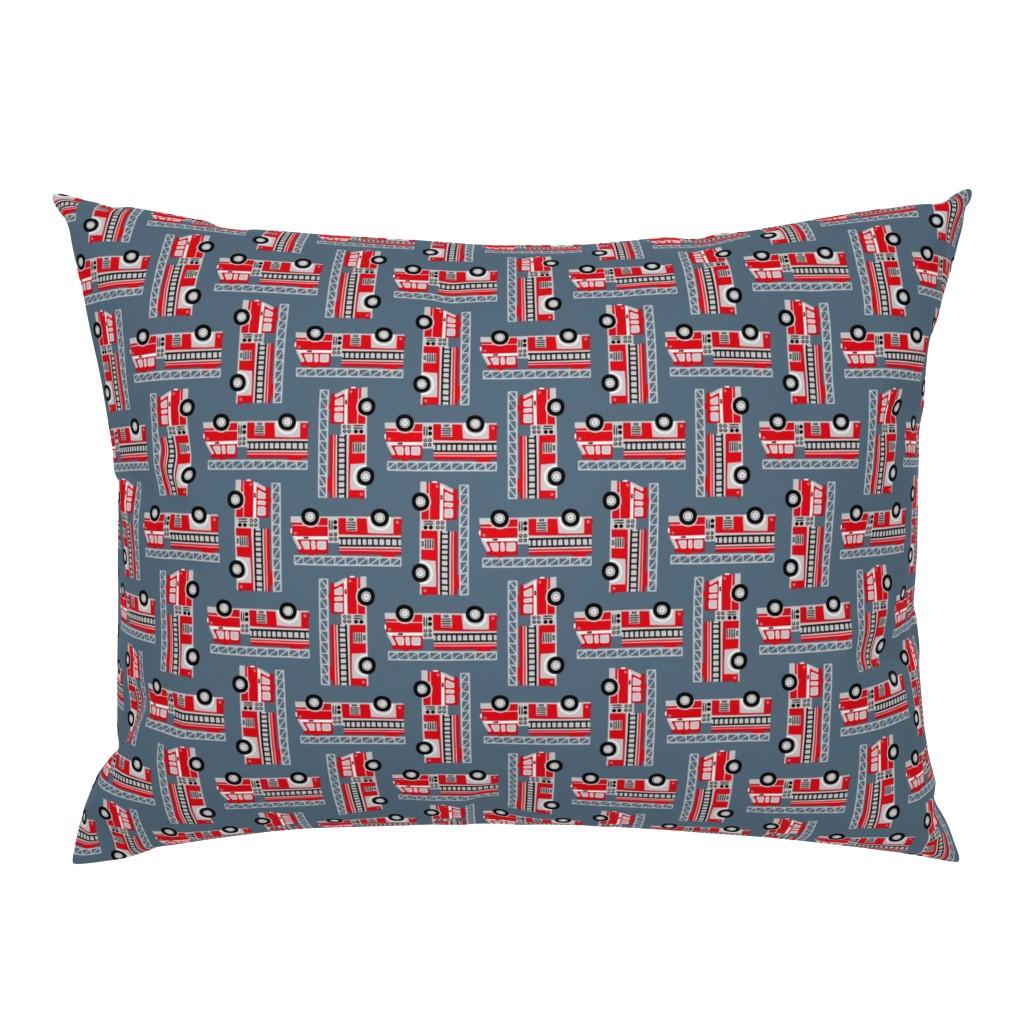 Campine Pillow Sham featuring firetrucks - stone blue by mirabelle_print