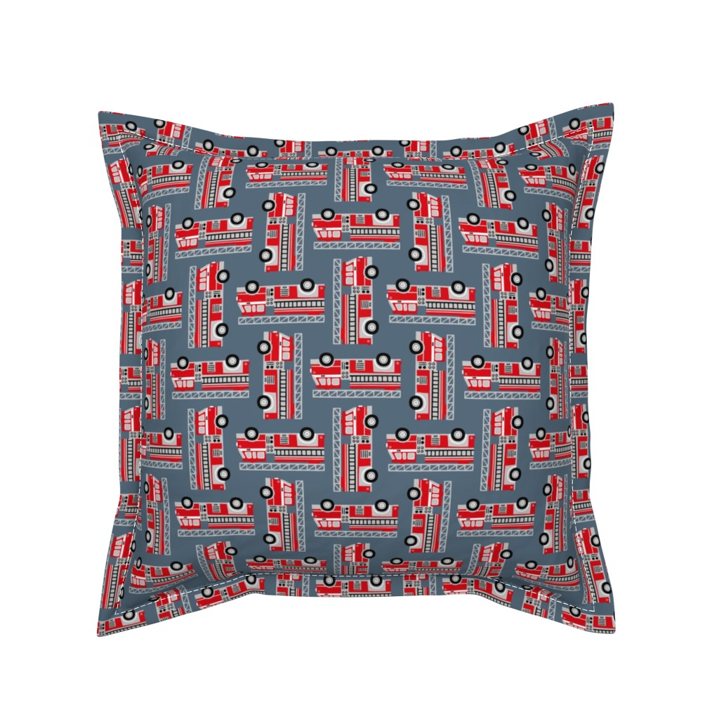 Serama Throw Pillow featuring firetrucks - stone blue by mirabelle_print