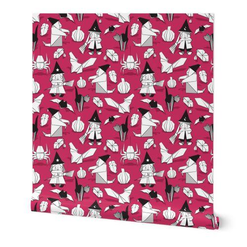 Halloween Origami Tricks Pink Backgro Spoonflower