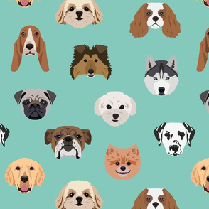 Many Dogs - Green Background