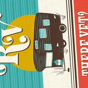 RV There Yet - Retro Camper Pun Tea Towel