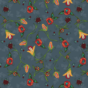 Fall Flowers on Vintage Blue