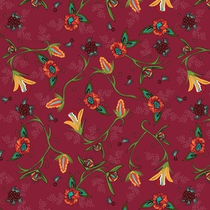 Fall Flowers on Cherry Red