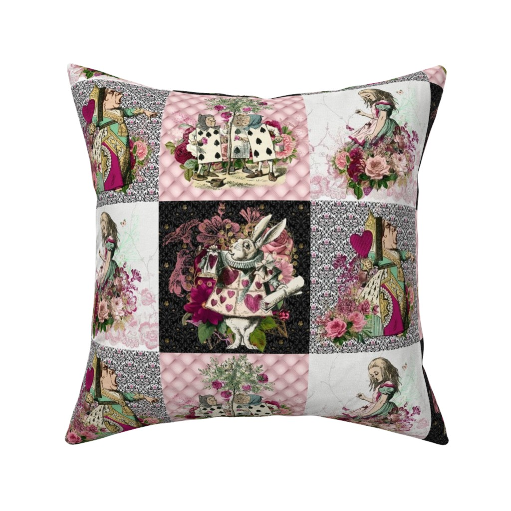 Catalan Throw Pillow featuring Wonderland Patchwork by floramoon