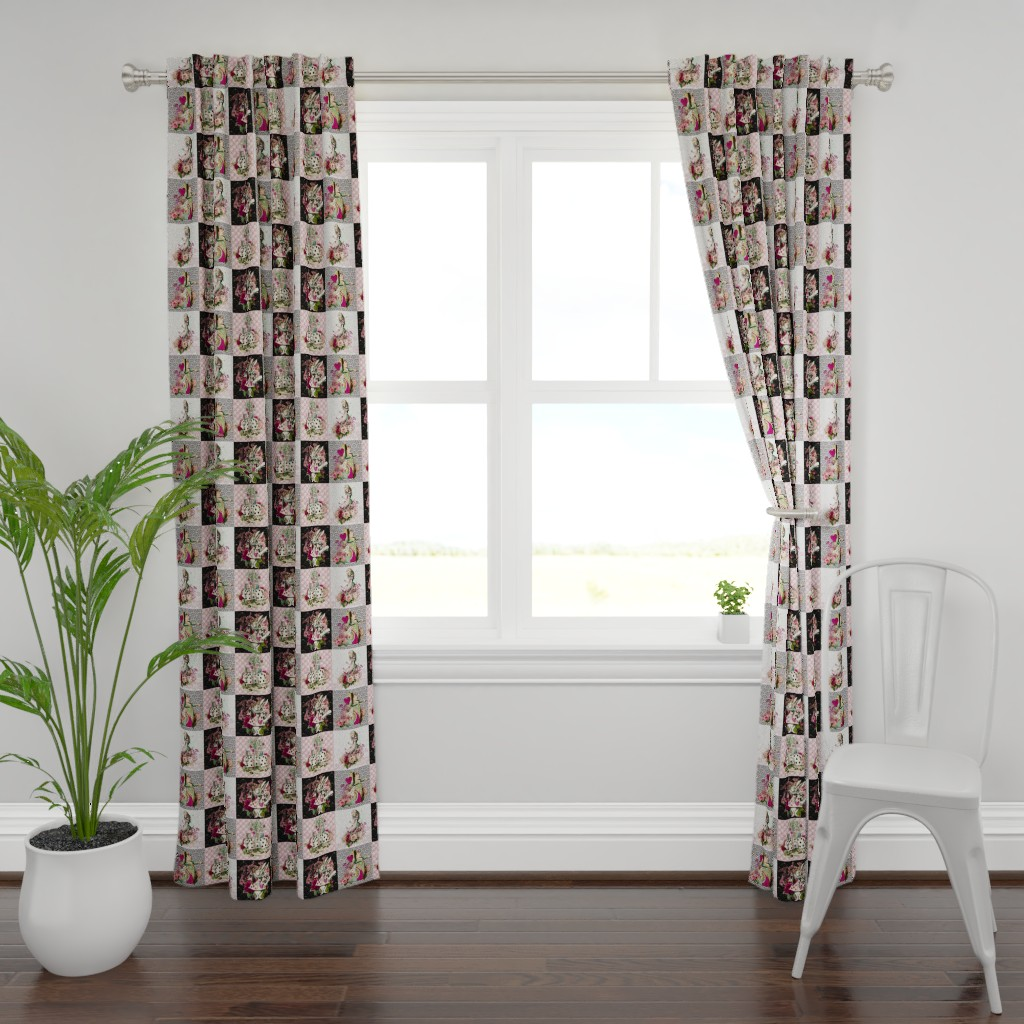 Plymouth Curtain Panel featuring Wonderland Patchwork by floramoon