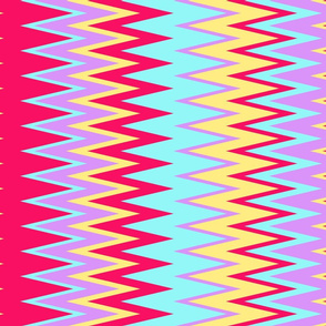 beach color chevron zigzag stripes in hot pink purple teal & yellow