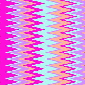 beach color chevron zigzag stripes with pink teal purple & soft orange