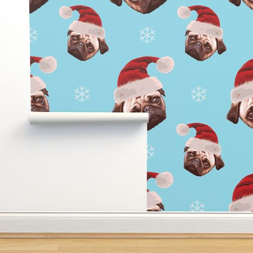 Wallpaper Christmas Pug Face Pattern Light Blue Background