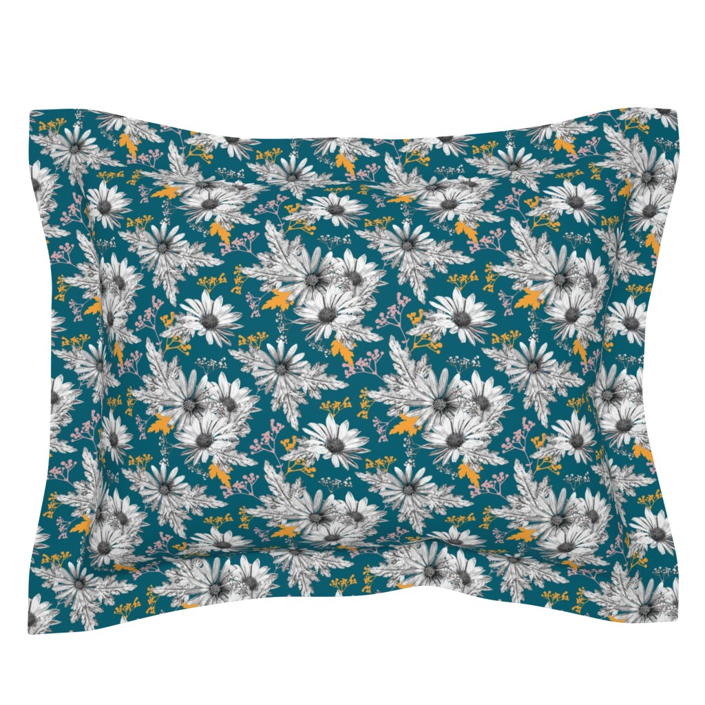 Sebright Pillow Sham featuring Stippled Daisies by lucaswoolleydesigns