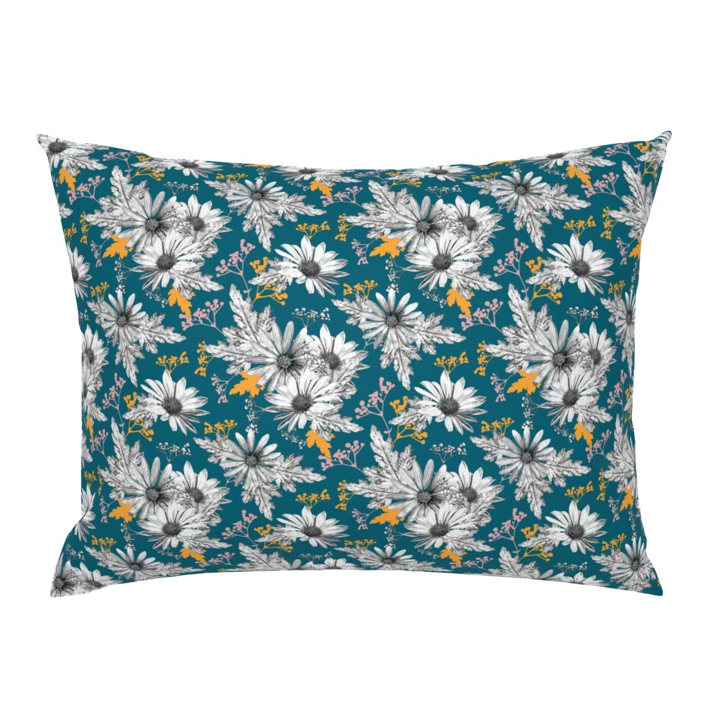 Campine Pillow Sham featuring Stippled Daisies by lucaswoolleydesigns