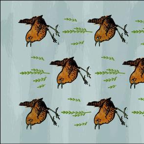 Tea Towel: Block Printed Wren and Twigs