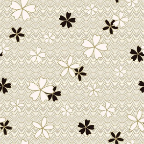 Japanese classic Sakura floral in black and light beige colors with golden stroke