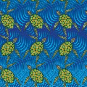Sea Turtles on Blue by ArtfulFreddy