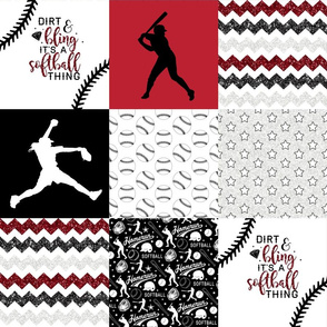 Softball//Dirt & Bling//Red - Wholecloth Cheater Quilt