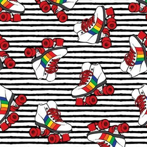 roller skates - rainbow on black stripes