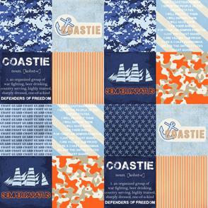 Military Orange & Blue Faux Quilt