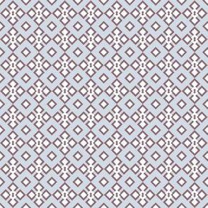 Geometrical Lace in blue and dusty pink seamless pattern background.
