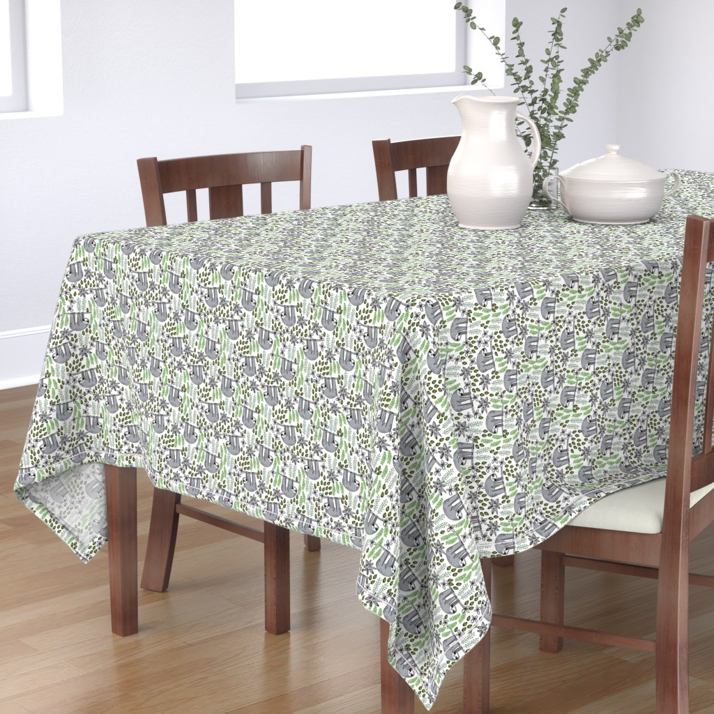 Bantam Rectangular Tablecloth featuring sloth fabric // sloth fabric by the yard, sloth fabric material, sloth fabric uk - cute sloth, sloths, jungle safari, kids nursery fabric - white by andrea_lauren