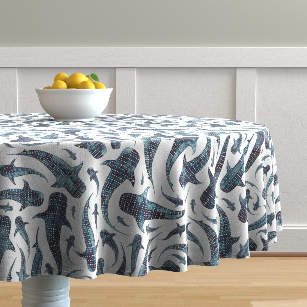 Malay Round Tablecloth featuring whale shark by elena_o'neill_illustration_