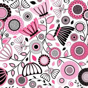 Pink and Black Elegant Mid Century Modern Flowers