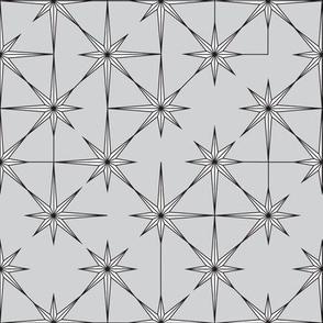 starburst in black and white on grey