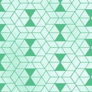 Watercolor geometry shapes green pattern