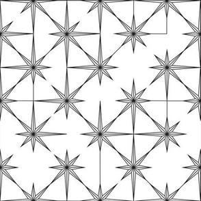 starburst in black and grey on white