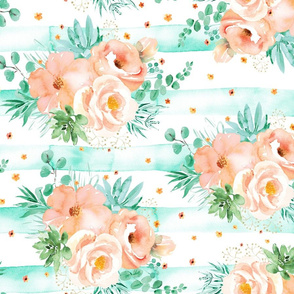 Watercolor mint succulents and peach roses