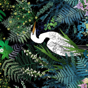 Egret in an Evening Water Garden Tea Towel