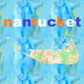 Nantucket with name label sized 18x18